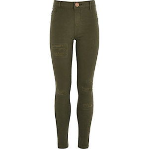 Girls khaki green distressed Molly jeggings