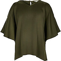 Girls khaki green frill sleeve swing top
