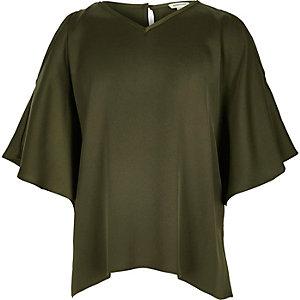 Girls khaki green cold shoulder kimono top
