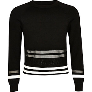 Girls black mesh insert sporty sweater