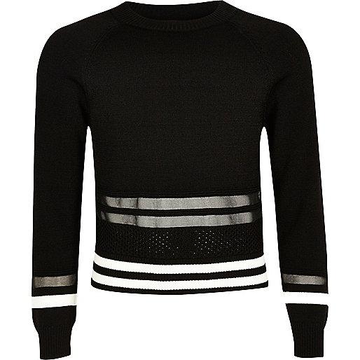 Girls black mesh insert sporty sweater
