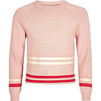 Girls pink mesh insert sporty sweater