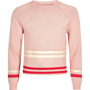 Girls pink mesh insert sporty jumper