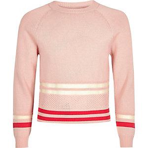Pull style sportif rose avec empiècement résille pour fille