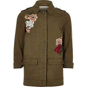 Girls khaki floral embroidered shacket