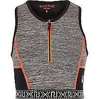 Girls RI Active grey zip sports crop top