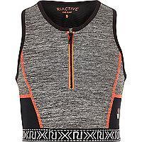 Girls RI Active grey zip sports crop top