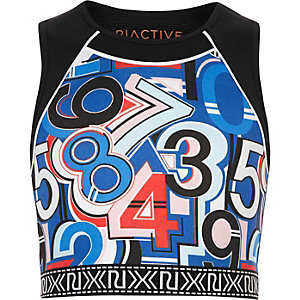 Girls RI Active blue print sports crop top