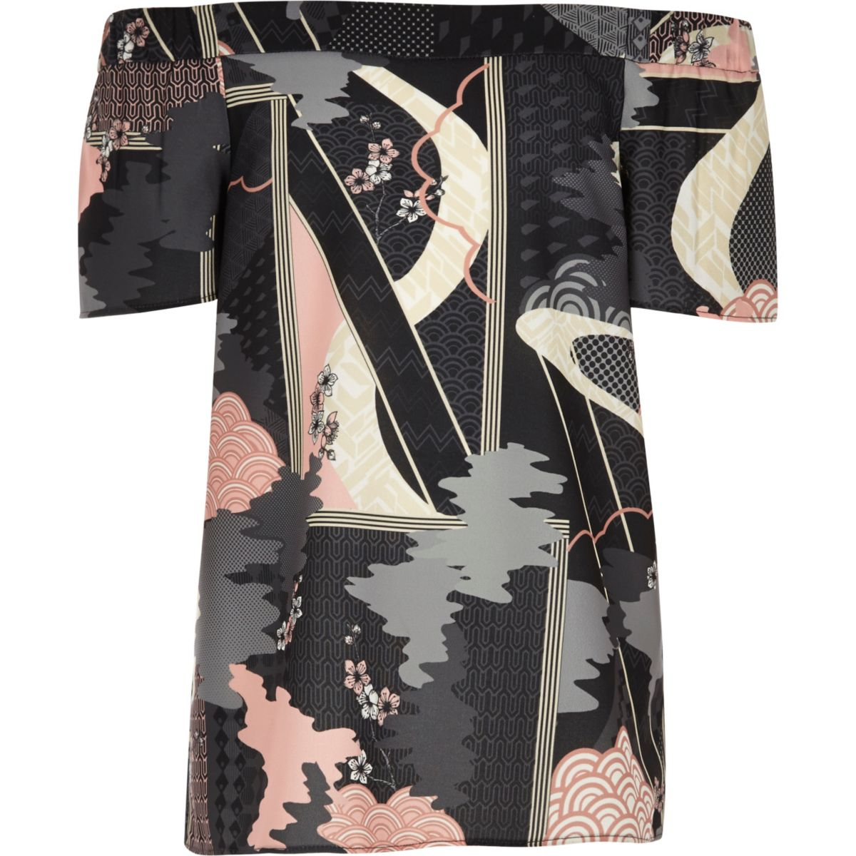 Girls grey oriental print bardot top