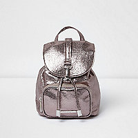 Girls silver metallic buckle backpack
