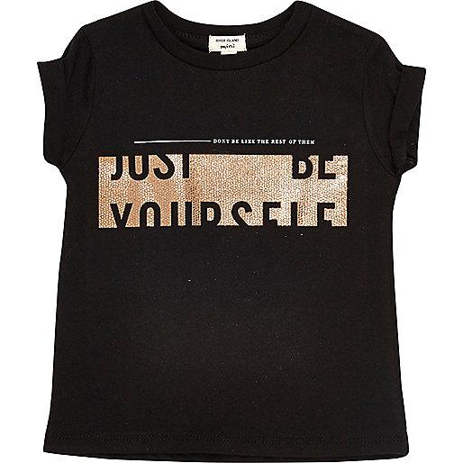 Mini girls black print T-shirt