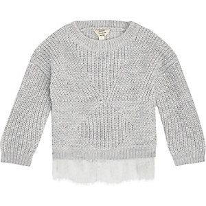 Mini girls grey knit lace hem jumper