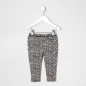 Mini girls leopard print ruffle leggings