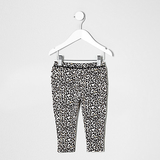 Mini girls leopard print ruffle leggings