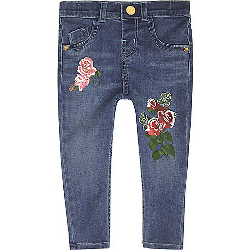 Mini girls blue floral print skinny jeans