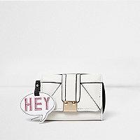 Girls cream speech bubble tag trifold purse