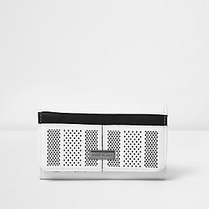 Girls white perforated sports trifold purse
