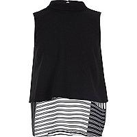 Girls black layered stripe print shell top
