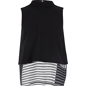 Girls black layered stripe print shell top