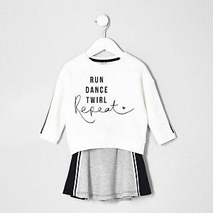 Mini girls white print sweatshirt and skirt