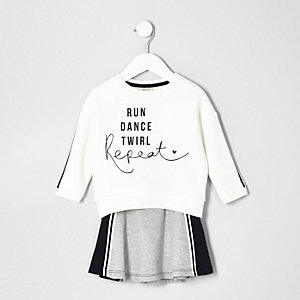Mini girls white print sweatshirt and skirt