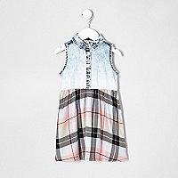 Mini girls denim and check dress