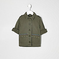 Mini girls khaki embroidered shacket