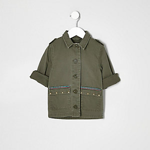 Besticktes Shacket in Khaki
