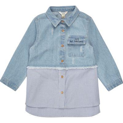Mini Blauw gestreept hybride denim overhemd voor meisjes