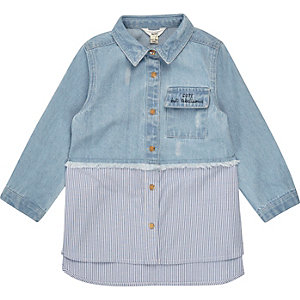 Mini girls blue stripe hybrid denim shirt
