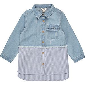 Chemise en jean hybride bleue mini fille