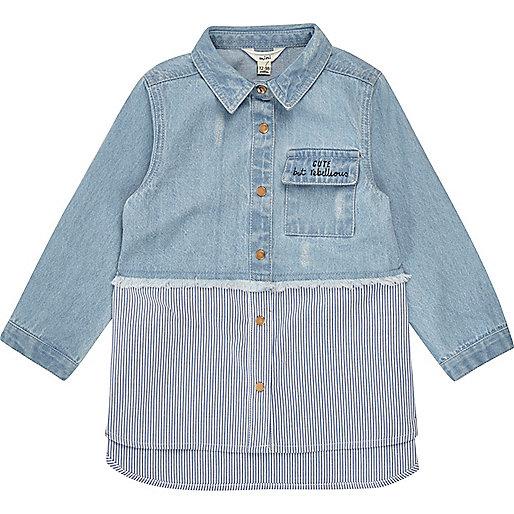 Mini girls blue stripe hybrid denim shirt
