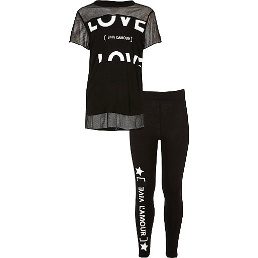 Girls black love T-shirt and leggings set