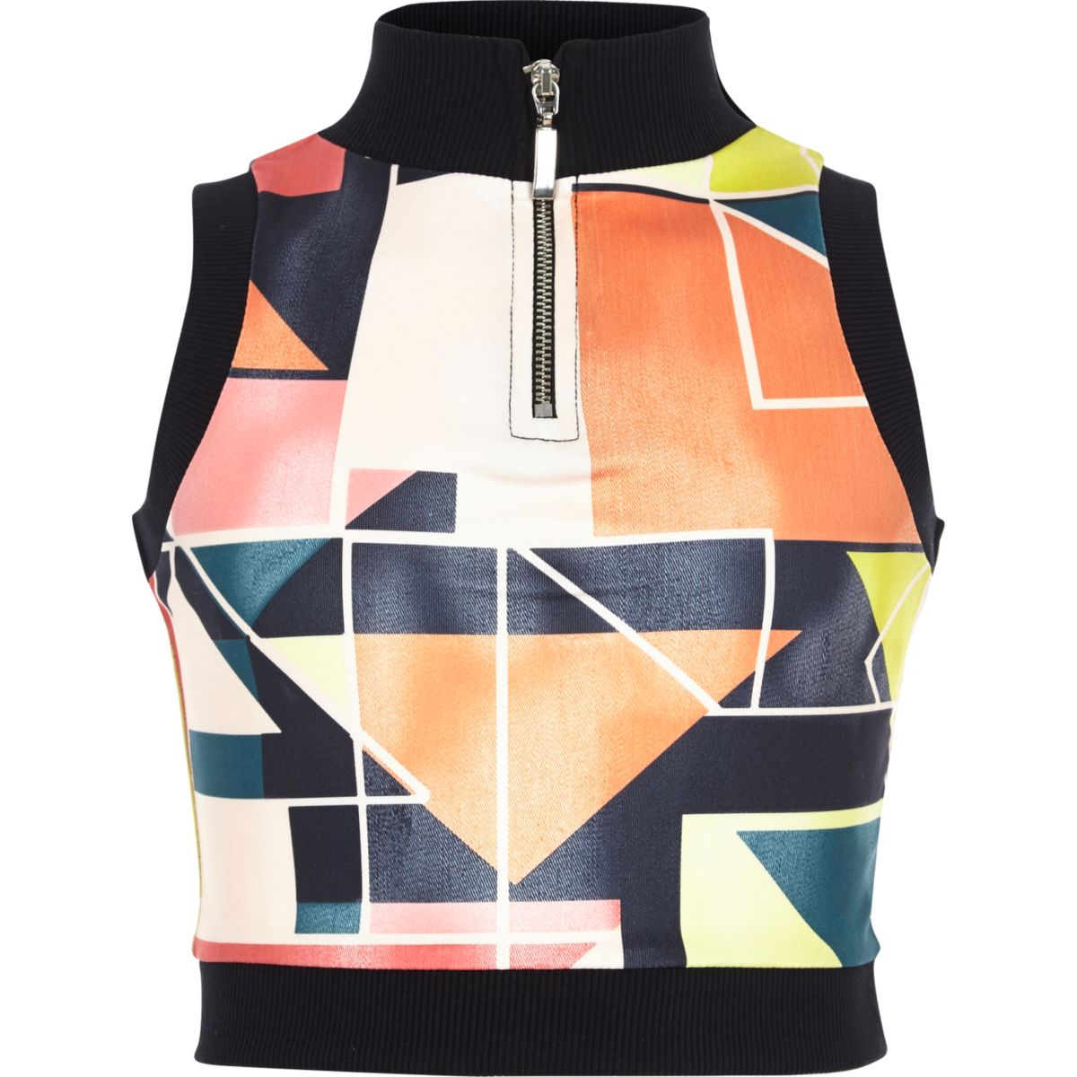 Girls red geo print zip tank top
