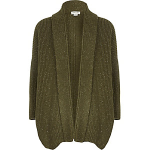 Girls khaki metallic knit open cardigan