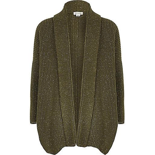 Girls khaki metallic knit open cardigan