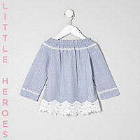 Mini girls blue lace hem bardot top
