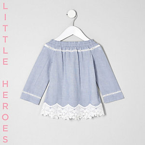 Mini girls blue lace hem bardot top