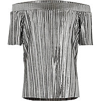 Girls grey metallic pleated bardot top