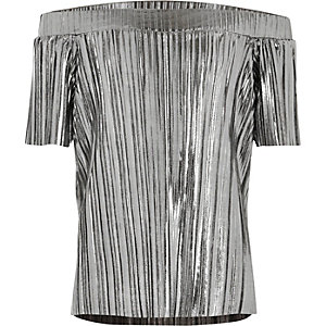 Girls grey metallic pleated bardot top