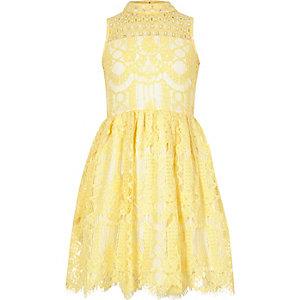 Girls yellow lace diamante prom dress