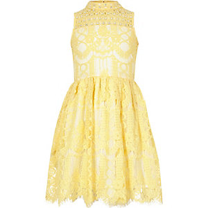 Girls yellow lace rhinestone prom dress