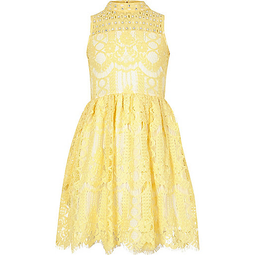 Girls yellow lace diamante prom dress