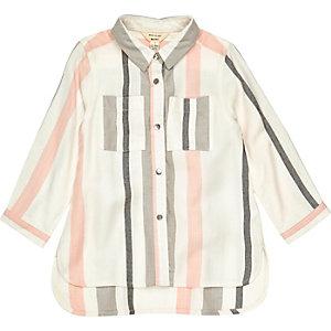 Mini girls white stripe shirt