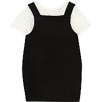 Mini girls black 2 In 1 pinafore dress