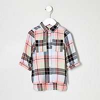 Mini girls pink check embroidered shirt