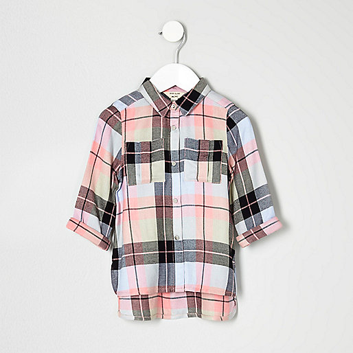 Mini girls pink check embroidered shirt