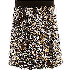 Girls gold sequin A-line skirt