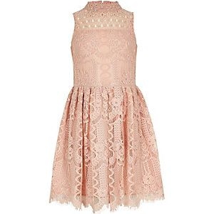 Girls pink diamante lace prom dress