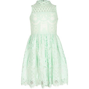 Girls green lace diamante prom dress